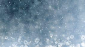 圣诞节假日招呼的显示卡 与雪花、星和雪的冬天 无缝的圈摘要新年背景 股票视频