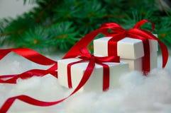 圣诞节假日构成 在白色箱子的新年礼物有在轻的背景的红色丝带的与杉树 库存照片