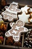圣诞节假日标志和曲奇饼在一个木箱,顶视图 免版税库存图片