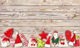 圣诞节假日横幅装饰木背景 免版税库存照片