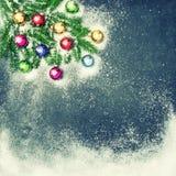 圣诞节假日背景装饰装饰品雪葡萄酒 库存照片