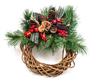 圣诞节假日花圈 库存照片