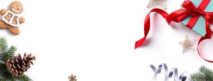 圣诞节假日装饰元素;圣诞节边界 免版税图库摄影