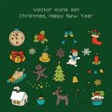 圣诞节假日象集合 经典手拉的新年元素,葡萄酒样式 库存例证