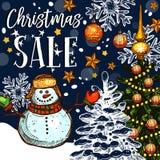 圣诞节假日销售传染媒介电视节目预告剪影海报 皇族释放例证