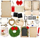 圣诞节假日问候的剪贴薄元素 免版税库存图片