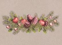 圣诞节假日水彩诗歌选 库存例证