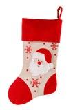 圣诞节储存 与圣诞老人和雪花的红色袜子 免版税库存图片