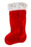 圣诞节储存 圣诞老人的礼物的红色袜子 男孩节假日位置雪冬天 免版税库存照片