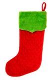 圣诞节储存 圣诞老人的礼物的红色袜子 男孩节假日位置雪冬天 免版税库存图片