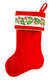 圣诞节储存 在白色隔绝的圣诞老人的礼物的红色袜子 库存图片