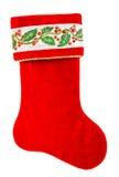 圣诞节储存 在白色隔绝的圣诞老人的礼物的红色袜子 免版税库存图片