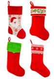 圣诞节储存 礼物的红色袜子 装饰品 库存图片