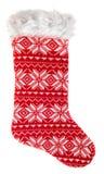 圣诞节储存 礼物的被编织的红色袜子 免版税库存照片