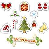 圣诞节元素传染媒介贴纸在白色背景设置了 免版税图库摄影