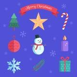 圣诞节元素的传染媒介平的收藏 树、星、糖果、球、雪人、蜡烛、雪花、枝杈和礼物象  蓝色 皇族释放例证