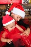圣诞节兄弟姐妹 免版税库存图片