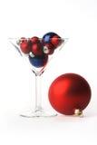 圣诞节充分的玻璃马蒂尼鸡尾酒 库存照片