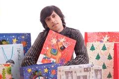 圣诞节充分的礼品人年轻人 库存图片
