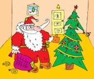 圣诞节克劳斯・圣诞老人结构树 免版税库存照片