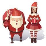 圣诞节克劳斯女孩圣诞老人 皇族释放例证