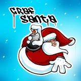 圣诞节克劳斯街道画Hip Hop都市的圣诞老人 免版税库存图片