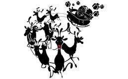 圣诞节克劳斯驯鹿圣诞老人剪影 免版税库存图片