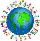 圣诞节全球孩子 图库摄影