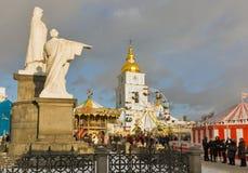 圣诞节公平在基辅,乌克兰 库存照片