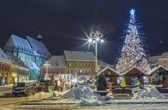 圣诞节公平在委员会正方形,布拉索夫,罗马尼亚 免版税图库摄影