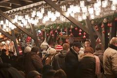 圣诞节公平在Vörösmarty广场在布达佩斯 免版税图库摄影