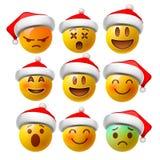 圣诞节兴高采烈的面孔emojis或黄色意思号在光滑的3D现实与圣诞老人的帽子,传染媒介例证 库存例证