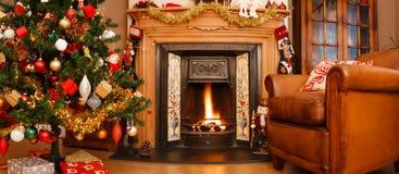 圣诞节内部全景 免版税库存照片