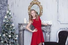 圣诞节内部的美丽的妇女庆祝愉快 库存照片