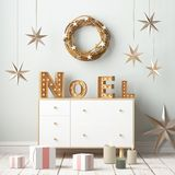 圣诞节内部,装饰在斯堪的纳维亚样式 3d翻译 3d例证 免版税库存图片
