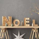 圣诞节内部,装饰在斯堪的纳维亚样式 3d翻译 3d例证 免版税图库摄影