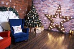 圣诞节内部 美丽的装饰 库存照片
