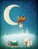 圣诞节冒险兔宝宝和熊 免版税库存图片