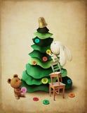圣诞节冒险兔宝宝和熊 免版税库存照片