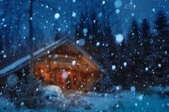 圣诞节冬天夜背景 库存照片
