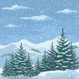圣诞节冬天山风景 库存图片