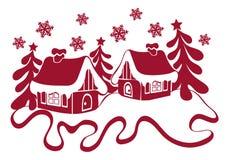 圣诞节冬天摘要构成 雪的等高房子 库存例证