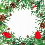 圣诞节冬天树、杉木锥体和装饰边界框架在白色背景 美丽的概念礼服女孩纵向佩带的空白冬天 平的位置,顶视图 库存图片