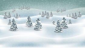 圣诞节冬天森林降雪的风景背景 也corel凹道例证向量 免版税库存照片