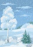 圣诞节冬天森林风景 库存图片