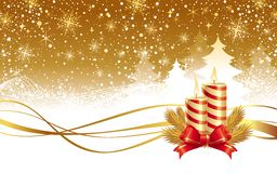 圣诞节冬天横向和蜡烛 免版税库存照片