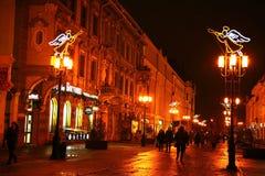 圣诞节冬天视图Bolshaya Pokrovskaya下诺夫哥罗德 免版税图库摄影