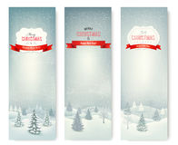 圣诞节冬天风景横幅。 免版税图库摄影