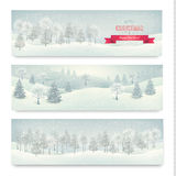 圣诞节冬天风景横幅 库存照片