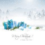 圣诞节冬天风景 免版税库存图片